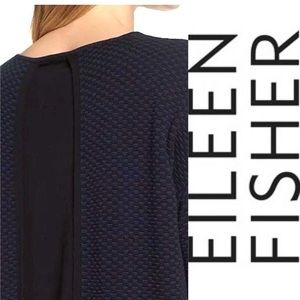 Eileen Fisher midnight scoop neck knit top NWT